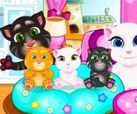 Говорящий кот:Том и Анжела с котятами