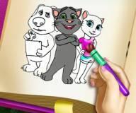 Говорящий кот:Раскраска Тома и Анжелы