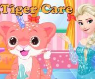 Эльза заботится о тигренке