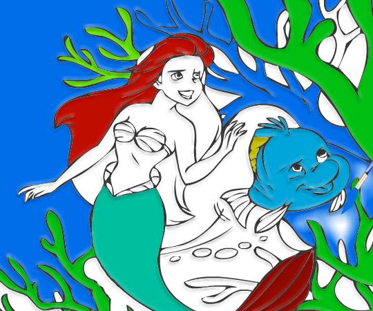 Игра Раскраска принцессы Ариэль