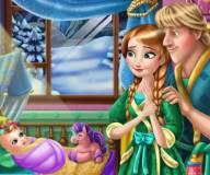 Анна и Кристофф кормят ребенка