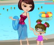 Мама и дочка в аквапарке