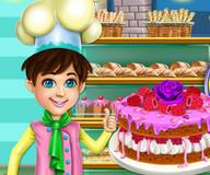 Бисквитный торт с малиной и розочкой