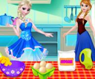 Сестры Анна и Эльза готовят торт
