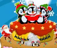 Игры на Новый год:Новогодний торт пингвинов