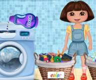 Игры Даша путешественница:Даша стирает одежду