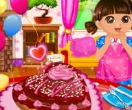 Игры Даша путешественница:Даша печет торт в виде сердца